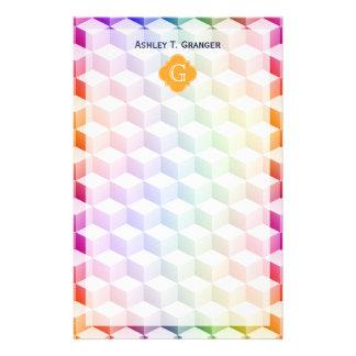 Pastel Rainbow Shaded 3D Cubes Cantaloupe Monogram Stationery