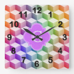 Pastel Rainbow Shaded 3D Cubes Lilac Monogram Square Wall Clock