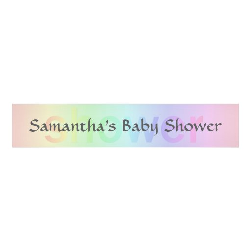 Pastel Rainbow SHOWER Custom Personalized Banner Posters