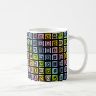 Pastel Rainbow Squared Black Coffee Mug