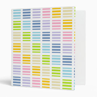 Pastel Rainbow Squares and Stripes Binder