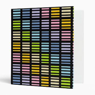 Pastel Rainbow Squares and Stripes Black Binder