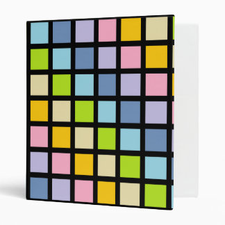 Pastel Rainbow Squares Black 3 Ring Binder