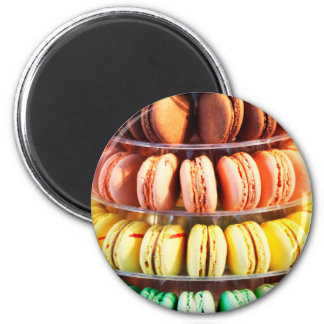 Pastel Rainbow Stacked French Macaron Cookies 2 Inch Round Magnet