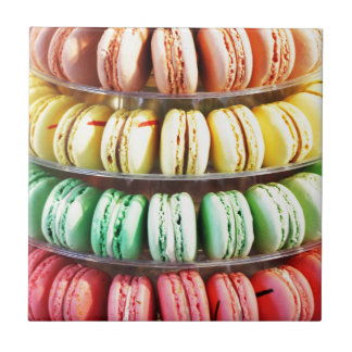 Pastel Rainbow Stacked French Macaron Cookies Ceramic Tile