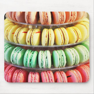 Pastel Rainbow Stacked French Macaron Cookies Mouse Pad
