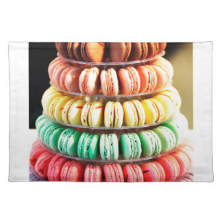 Pastel Rainbow Stacked French Macaron Cookies Placemat