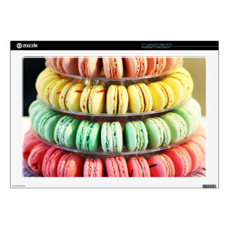 Pastel Rainbow Stacked French Macaron Cookies Skin For Laptop