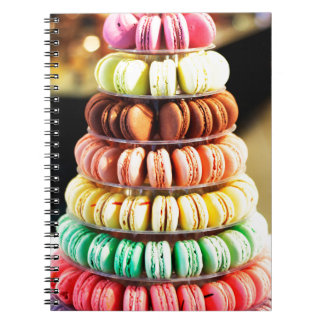 Pastel Rainbow Stacked French Macaron Cookies Spiral Notebook