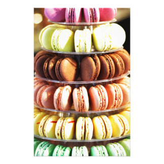 Pastel Rainbow Stacked French Macaron Cookies Stationery