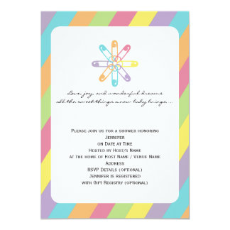 Pastel Rainbow Stripe Diaper Pin Baby Shower 5x7 Paper Invitation Card