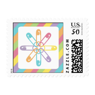 Pastel Rainbow Stripe Diaper Pin Flower Postage