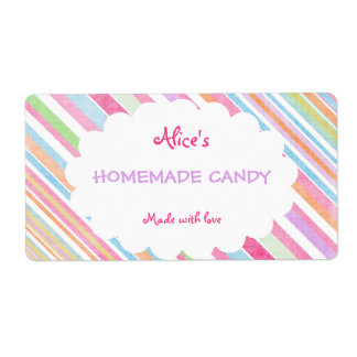 Pastel Rainbow Stripe Personalized Homemade Candy Label