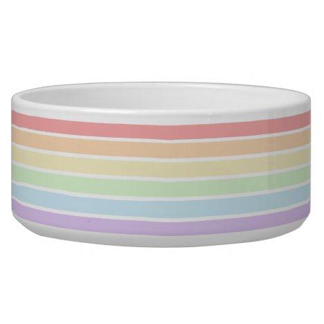 Pastel Rainbow Striped Large Pet Bowl