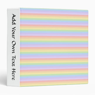 Pastel Rainbow Stripes. Vinyl Binder