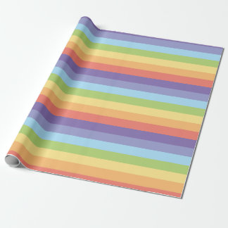Pastel rainbow stripes Gay Pride Wrapping Paper