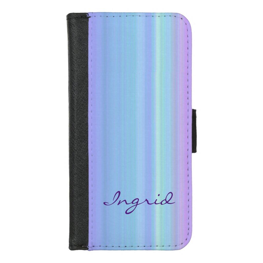 Pastel Rainbow Stripes iPhone 8/7 Wallet Case