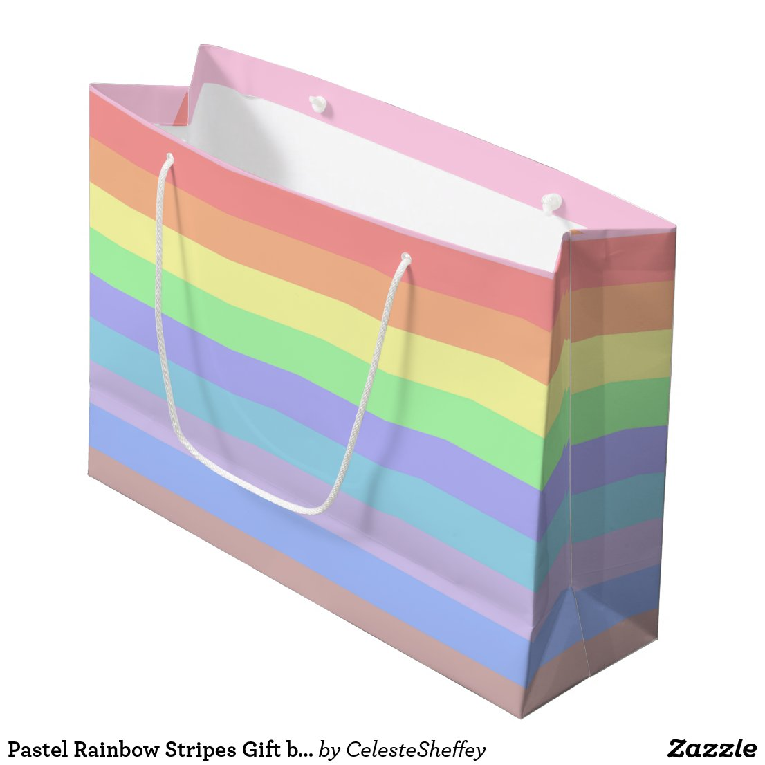 Pastel Rainbow Stripes Large Gift Bag