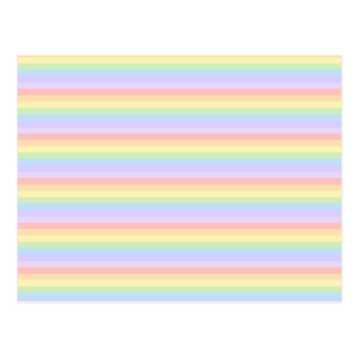Pastel Rainbow Stripes. Postcard