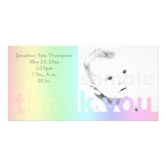 Pastel Rainbow Thank You Birth Announcement Photo Card