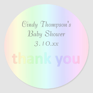 Pastel Rainbow Thank You Custom Round Sticker