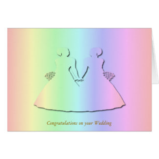 Pastel Rainbow Wedding Card for Lesbians