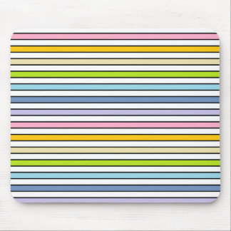 Pastel Rainbow, White and Black Stripes Mouse Pad