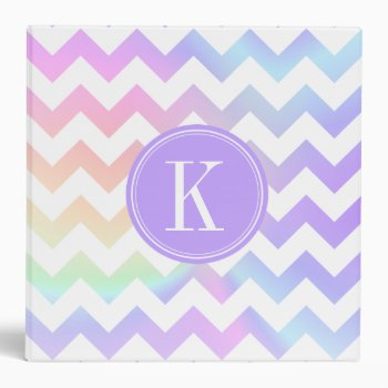 Pastel Rainbow White Chevron Custom Monogram Binder by OrganicSaturation at Zazzle