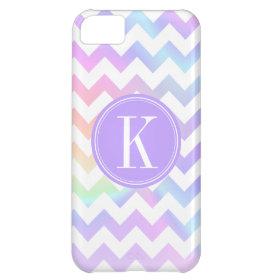 Pastel Rainbow White Chevron Custom Monogram Case For iPhone 5C