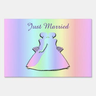 Pastel Rainbow Yard Sign Gay Pride Just Married