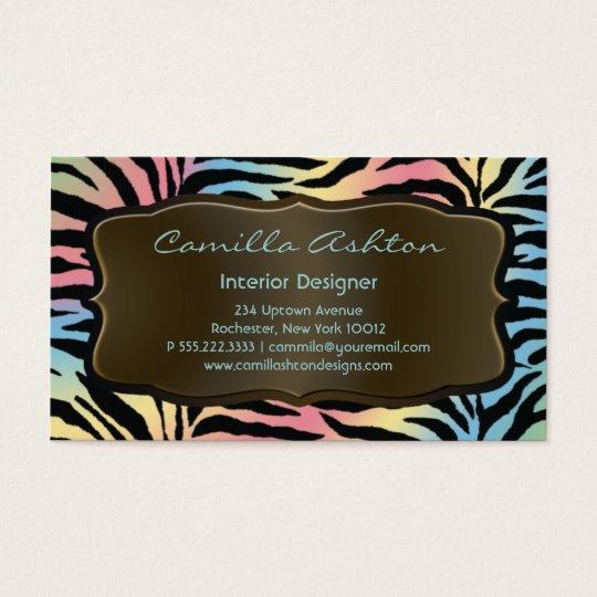 Pastel Rainbow Zebra Business Cards