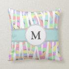 Pastel Rainbow Zebra Print Custom Monogram Throw Pillow