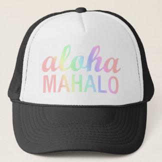 Pastel Rainbows Aloha Mahalo Typography Trucker Hat