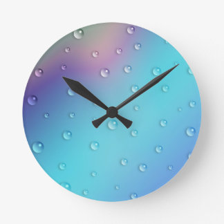 Pastel Raindrops Round Clock