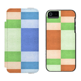 Pastel Rectangles of Simulated Corkboard iPhone SE/5/5s Wallet Case