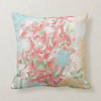 Pastel Red, Blue & Tan Abstract Painting Pillows