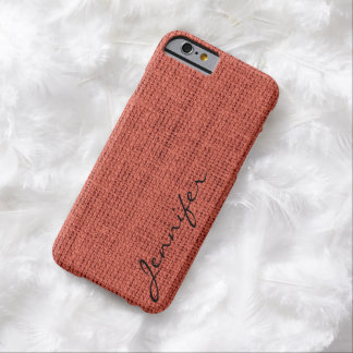 Pastel red Burlap Rustic Linen Monogram Barely There iPhone 6 Case