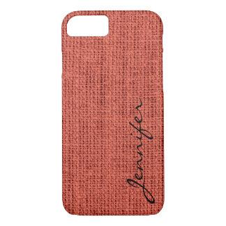 Pastel red Burlap Rustic Linen Monogram iPhone 7 Case