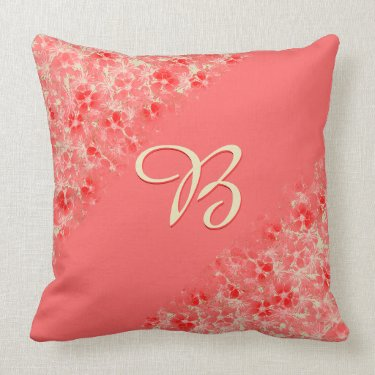 Pastel Red Flower Blossoms Diagonal_Monogrammed Throw Pillows
