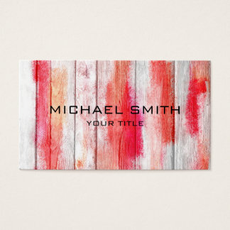 Pastel Red on Wood #2 Business Card