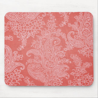 Pastel red paisley floral cloth vintage pattern mouse pad
