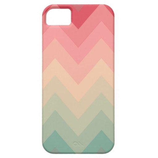 Pastel Red Pink Turquoise Ombre Chevron Pattern iPhone SE/5/5s Case