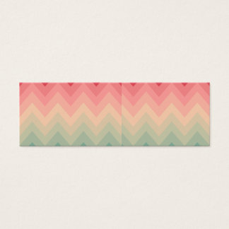 Pastel Red Pink Turquoise Ombre Chevron Pattern Mini Business Card