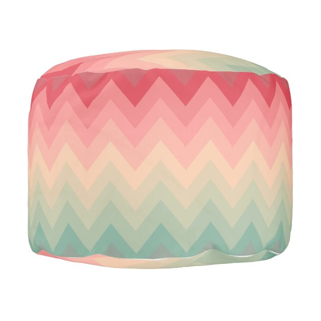 Pastel Red Pink Turquoise Ombre Chevron Pattern Pouf Zazzle