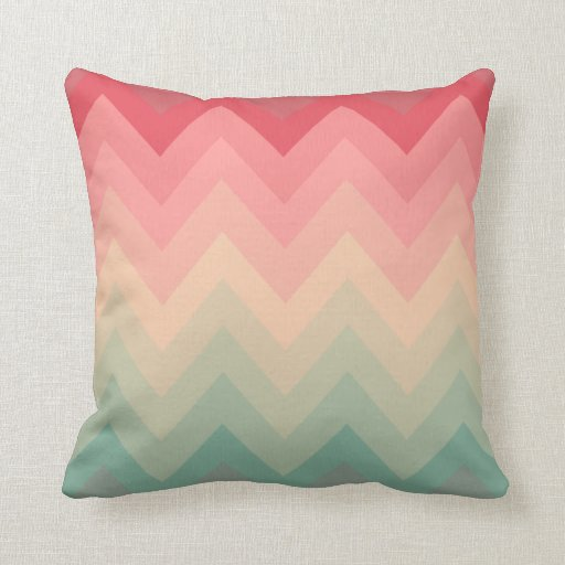 Pastel red pink turquoise ombre chevron pattern throw for Turquoise and red throw pillows