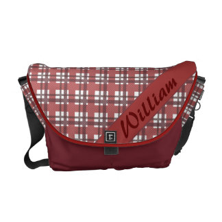 Pastel red plaid pattern with name courier bag