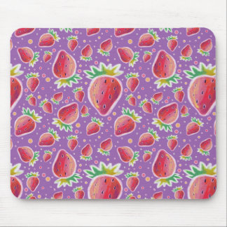 Pastel Red Purple Strawberry Pattern Mouse Pad