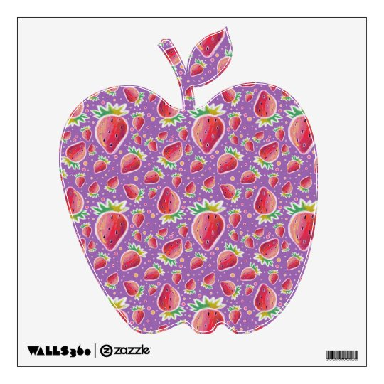 Pastel Red Purple Strawberry Pattern Wall Decal