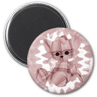 Pastel Red Spiral Smoke Teddy Bear Magnet