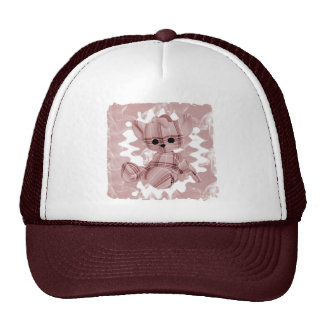 Pastel Red Spiral Smoke Teddy Bear Trucker Hat